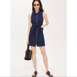 NWT Topshop Belted Zip-Up Denim Dress
